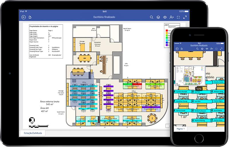 iPad e iPhone exibindo um diagrama de montagem no Visio