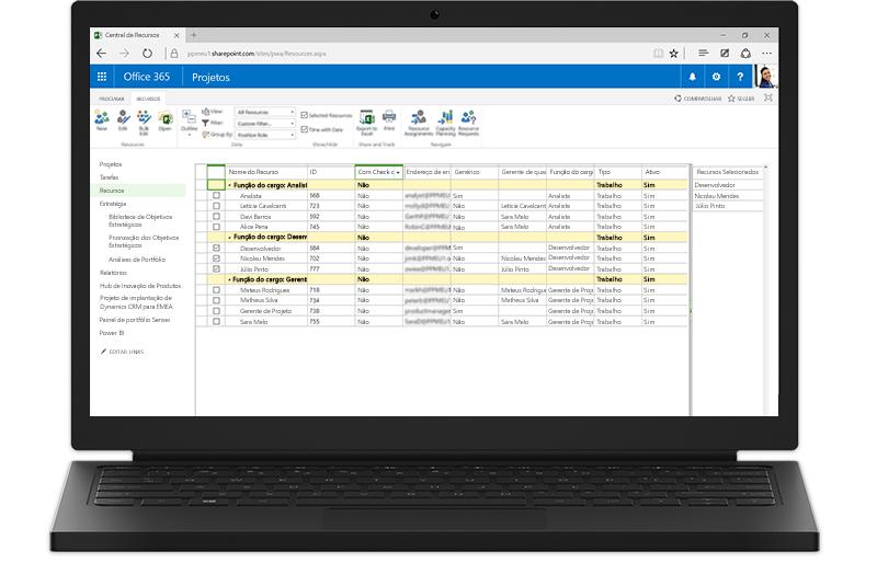 Um laptop exibindo recursos do Project Server baseados no SharePoint
