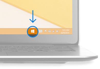 O canto inferior direito da área de trabalho com o ícone do Windows em destaque