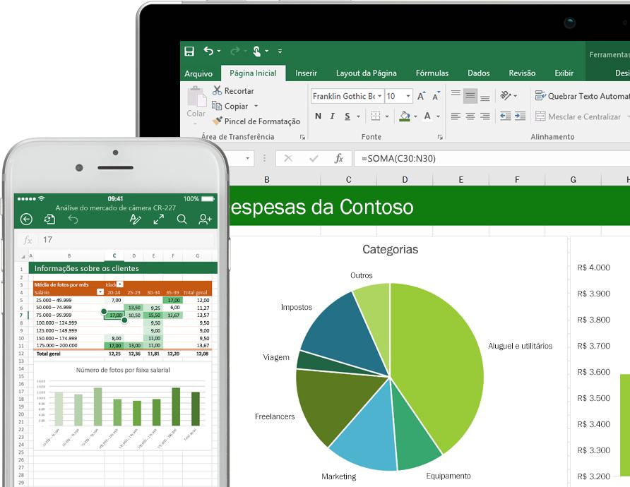 Diagramas do Excel exibidos em um tablet e um iPhone