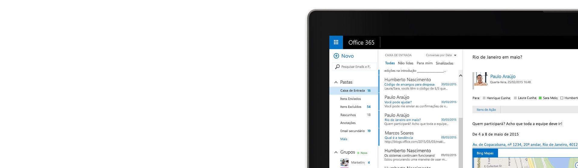 Canto de uma tela de computador mostrando uma caixa de entrada de email no Office 365