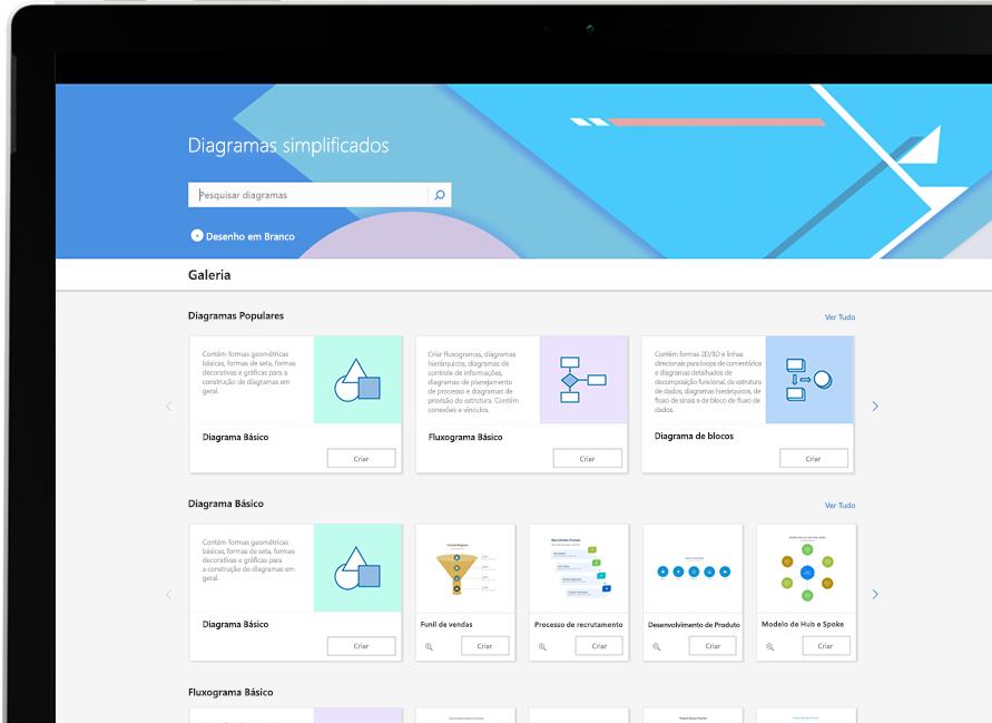 Galeria de diagramas do Visio mostrando diagramas básicos e populares