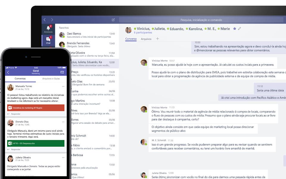 Conversa do Teams em um dispositivo móvel e desktop