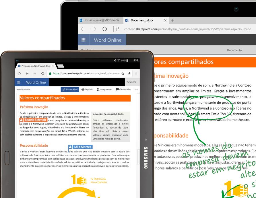 um laptop e um tablet executando o Word Online