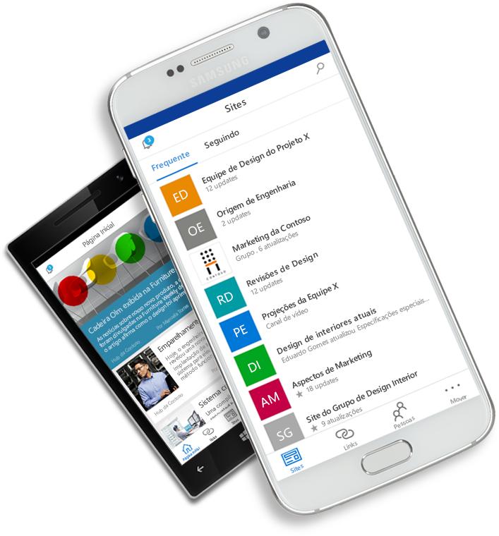 Aplicativo SharePoint exibido em dispositivos móveis