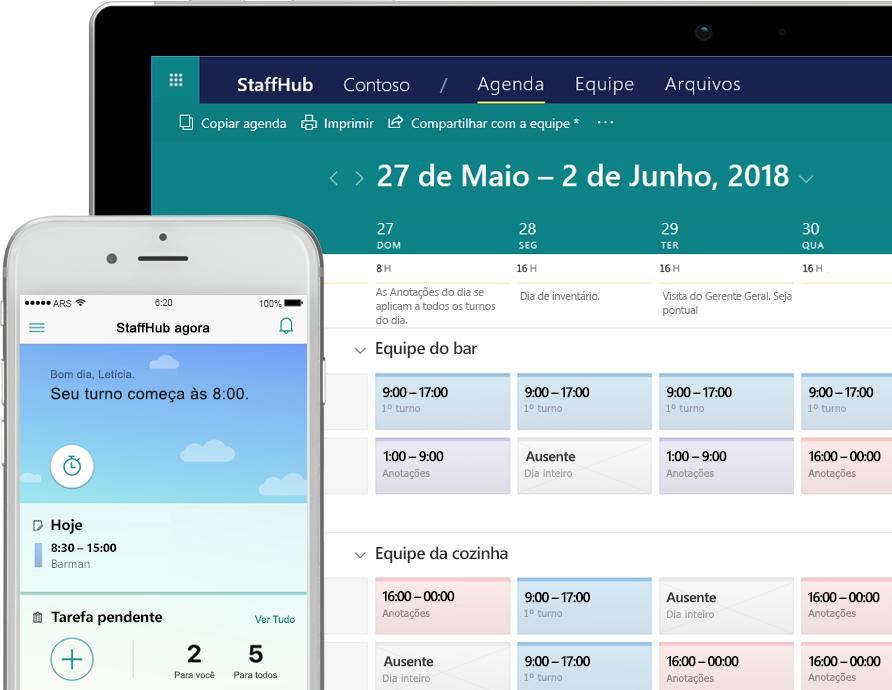 O aplicativo StaffHub mostrando tarefas em um smartphone e um tablet