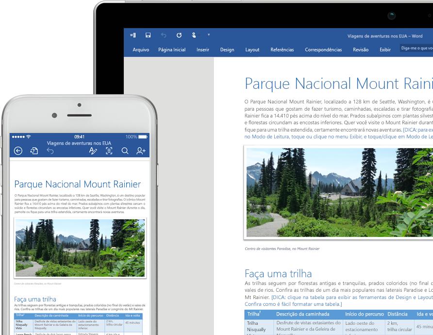 Um telefone celular e um laptop mostrando um documento do Word sobre o Parque Nacional Mount Rainier