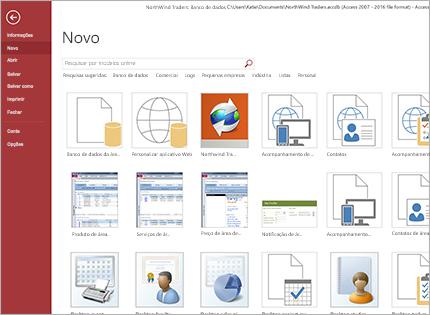 Uma captura de tela de um modelo de aplicativo de banco de dados.
