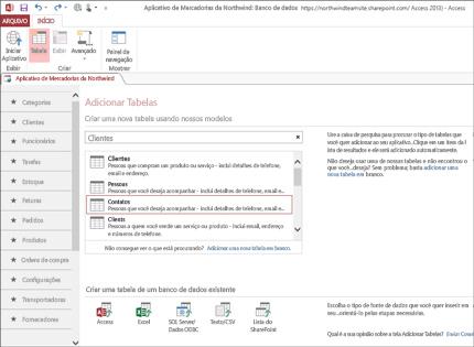 Captura de tela de um aplicativo de banco de dados no Access 2013 mostrando como é fácil adicionar tabelas.