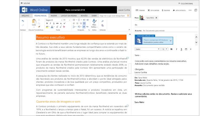 Uma mensagem de email exibida ao lado de um painel de visualização de anexos de documentos usando o Word Online