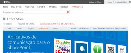 Captura de tela da página de aplicativos do SharePoint na Office Store.