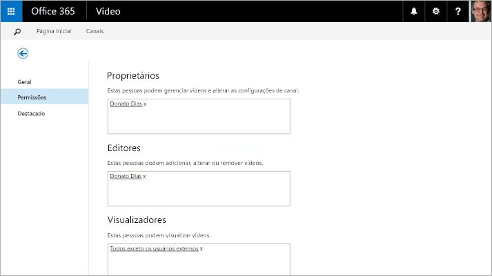 Captura de tela da página do portal de gerenciamento de vídeo, no Vídeo do Office 365.