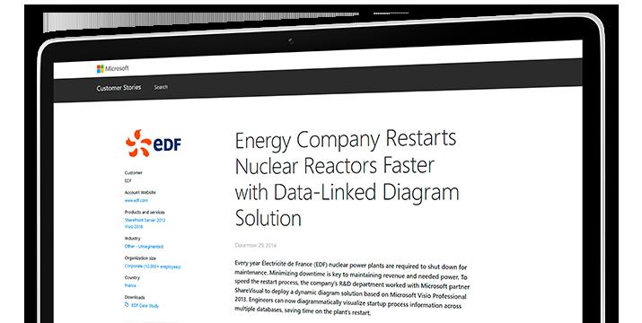 Uma tela de computador mostrando um estudo de caso sobre como uma empresa de energia reinicia os reatores nucleares mais rapidamente com uma solução de diagrama vinculado a dados