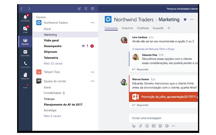 Tela de um tablet mostrando o Microsoft Teams