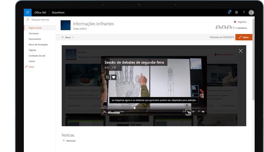 Dispositivo com o SharePoint sendo executado no Office 365 e um vídeo de treinamento sendo reproduzido
