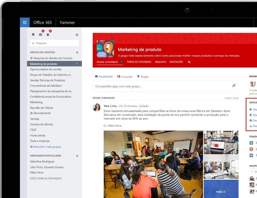 Yammer em um laptop com a integração dos grupos do Office 365