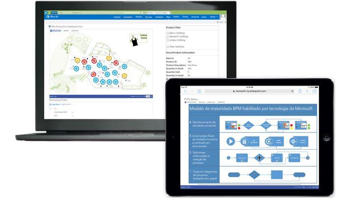 Um laptop e um tablet, cada um mostrando um diagrama diferente do Visio.