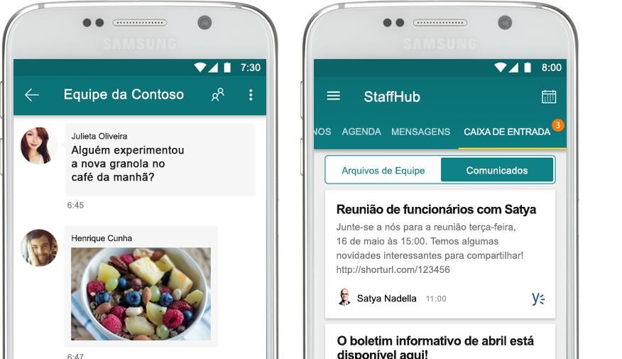 um celular que mostra um chat do StaffHub ao lado de um celular que mostra um anúncio corporativo no StaffHub