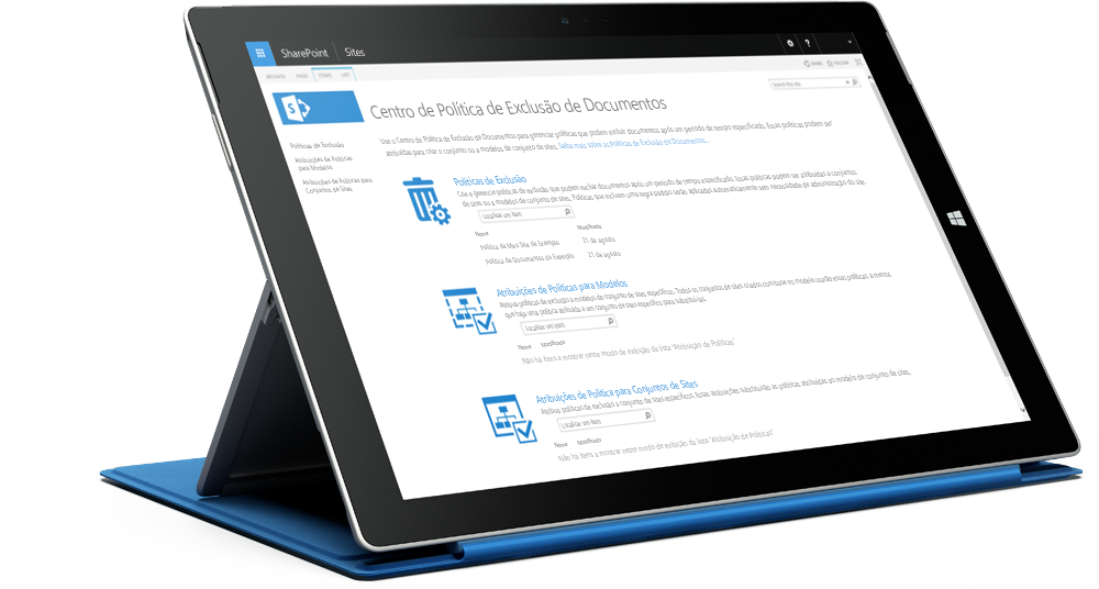 Tablet Surface exibindo a central de políticas de conformidade do SharePoint, saiba mais sobre o SharePoint Server 2016 na TechNet da Microsoft