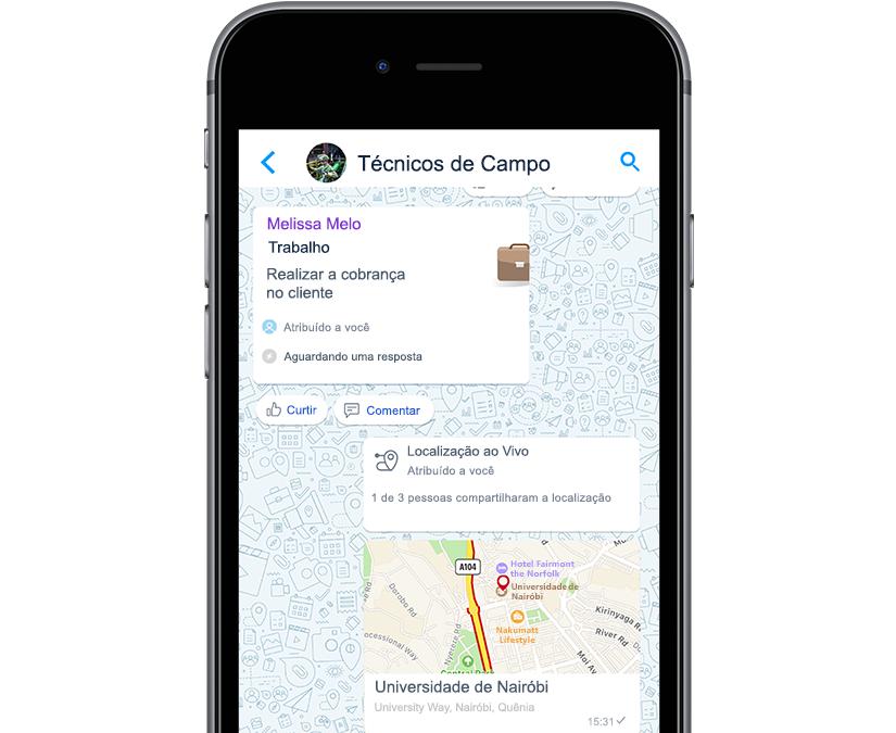 Foto mostrando a localização do trabalho e a coleta de pagamento na tela do aplicativo.