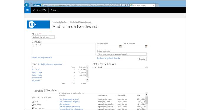Imagem ampliada de uma lista de resultados da visualização do Arquivamento do Exchange Online.