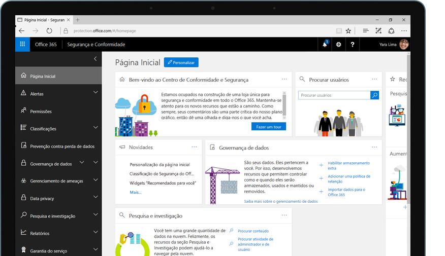 um tablet mostrando a página inicial do centro de conformidade e segurança do Office 365