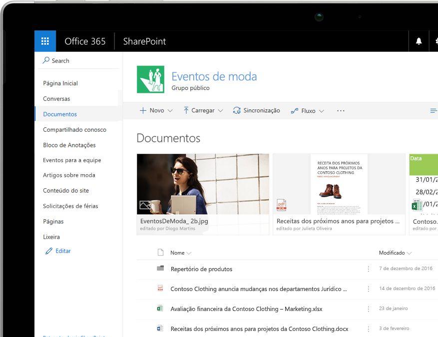 Uma biblioteca de documentos do SharePoint com filtros