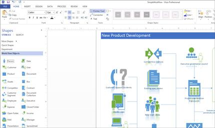 Captura de tela de um diagrama do Visio mostrando opções para personalizar o design.