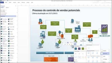 Um diagrama do Visio, mostrando formas atualizadas e fácil acesso a ferramentas.