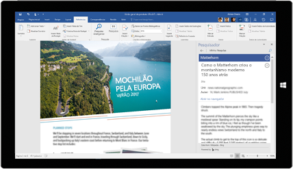 Tela de tablet mostrando o Pesquisador do Word usado em um documento sobre viagens com mochila pela Europa. Saiba mais sobre como criar documentos com as ferramentas integradas do Office.