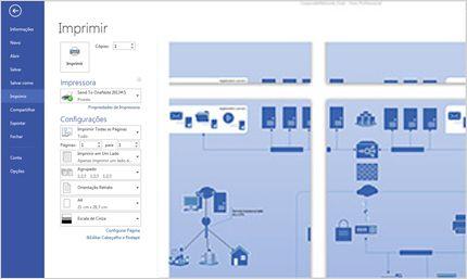 Captura de tela da página Imprimir no Visio Standard 2013, onde você pode visualizar diagramas.