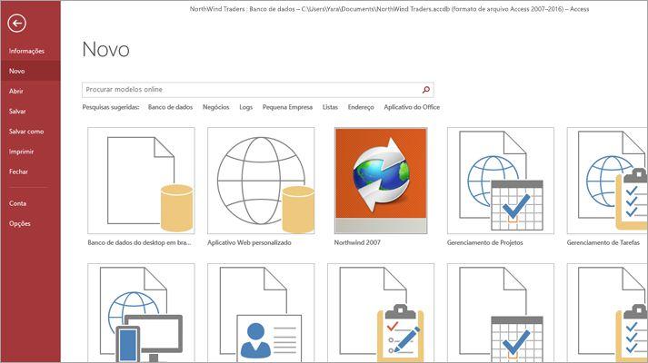 A tela do novo banco de dados no Microsoft Access