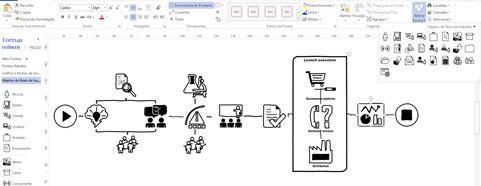 Imagem aproximada de um diagrama do Visio mostrando a faixa de opções e as ferramentas para personalizar o design.