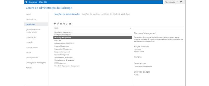 Captura de tela da página de permissões no centro de administração do Exchange, onde você gerencia funções de administrador.