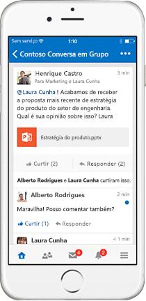 iPhone mostrando uma conversa em grupo no Yammer