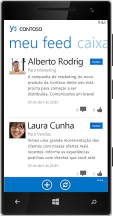 Windows Phone mostrando o Feed no Yammer