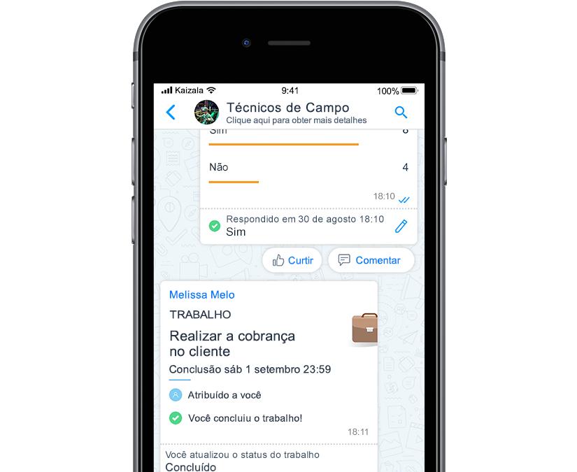 Foto da tela móvel com o cartão de ação do Kaizala mostrando ícones com tarefas