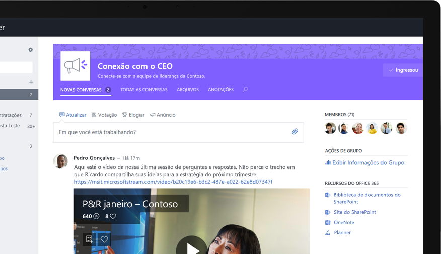 Yammer em um tablet mostrando um executivo compartilhando um vídeo de perguntas e respostas de toda a empresa