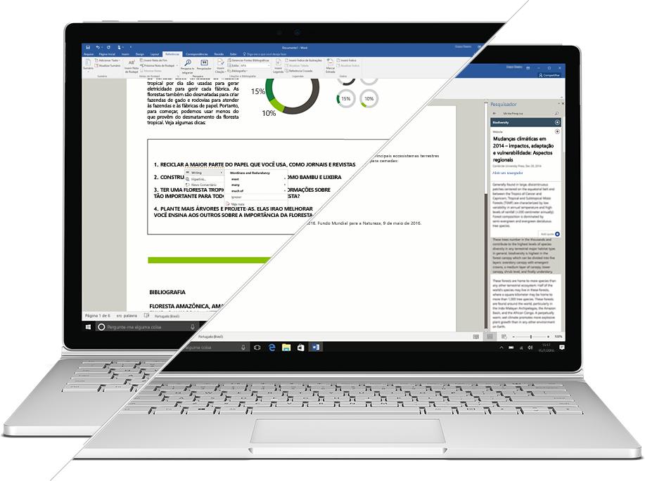 Captura de tela dos recursos Pesquisador e Editor do Microsoft Word