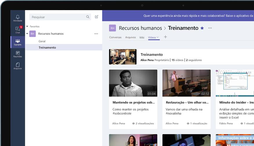 Dispositivo com o grupo do Teams chamado Recursos Humanos, com um menu de vídeos de treinamento