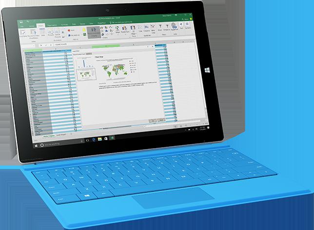 Recurso Mapas do Excel em um laptop