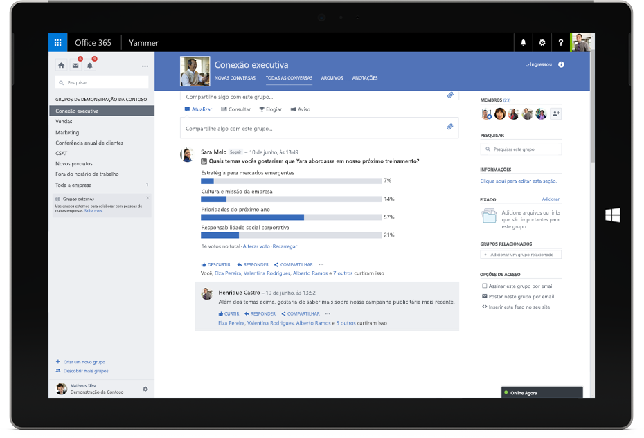 Tablet Surface mostrando uma conversa do Yammer entre membros de diferentes equipes