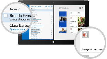 Um tablet mostrando uma caixa de entrada e arquivos armazenados, com um close-up nas mensagens e documentos.