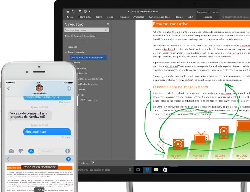 arquivos exibidos no OneDrive em um smartphone e um computador tablet
