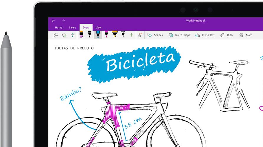 """Uma caneta digital que desenha a imagem de uma bicicleta chamada """"bicicleta ecológica"""" em um tablet."""