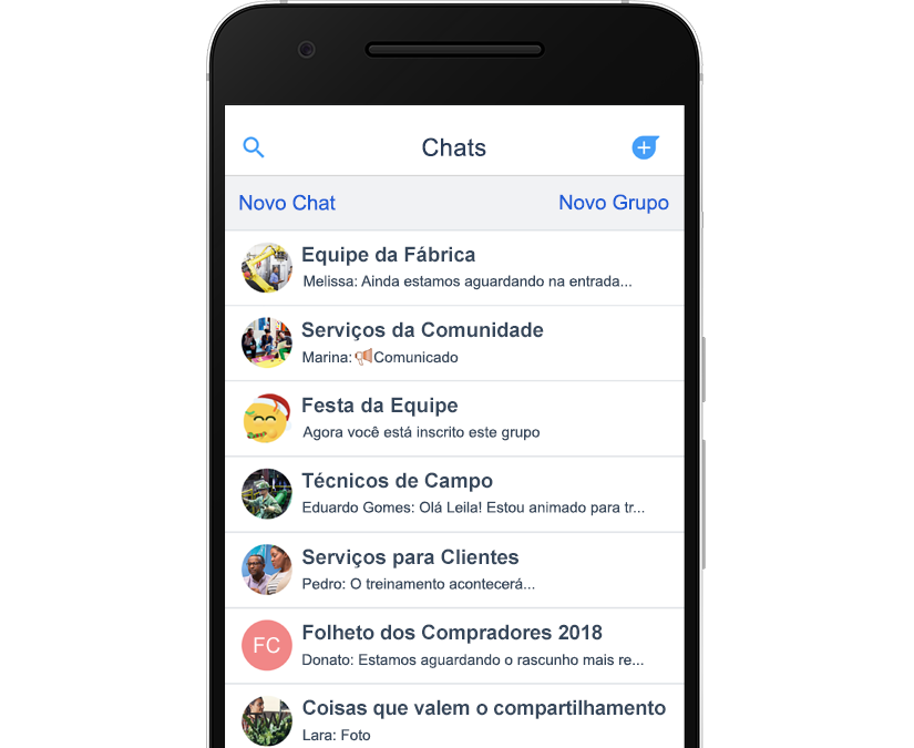 Foto mostrando a tela de chat no aplicativo