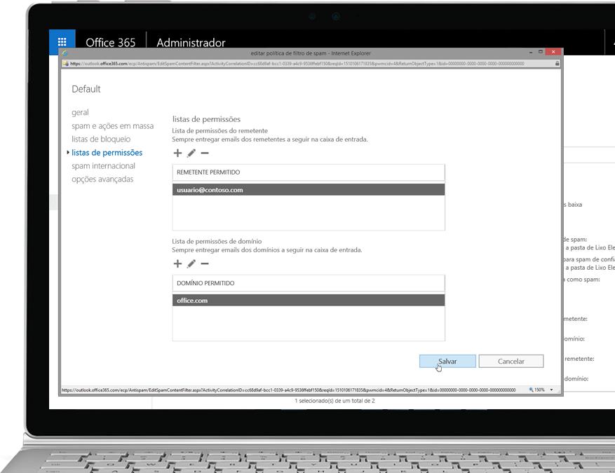 Política de filtros da Proteção do Exchange Online do Office 365 em um laptop com Windows