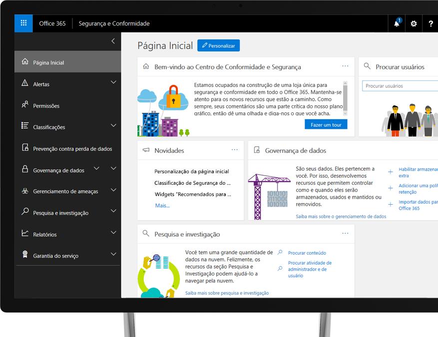 Centro de Conformidade e Segurança do Office 365 em um monitor de desktop do Windows