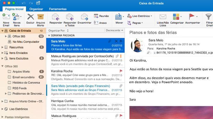 Uma captura de tela de uma caixa de entrada do Microsoft Outlook 2016 com uma lista de mensagens e visualização.