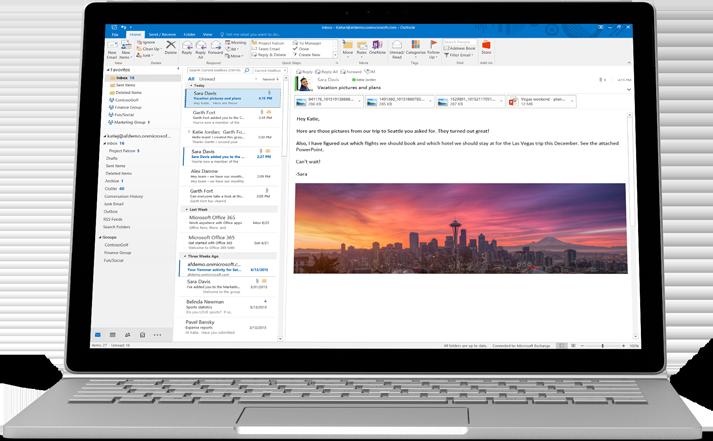 Um laptop mostrando a visualização de um email do Office 365 com imagem e formatação personalizadas.